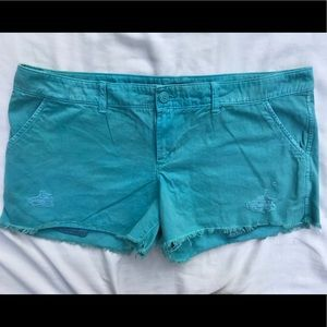 American Eagle Plus Size Teal fringed Shorts